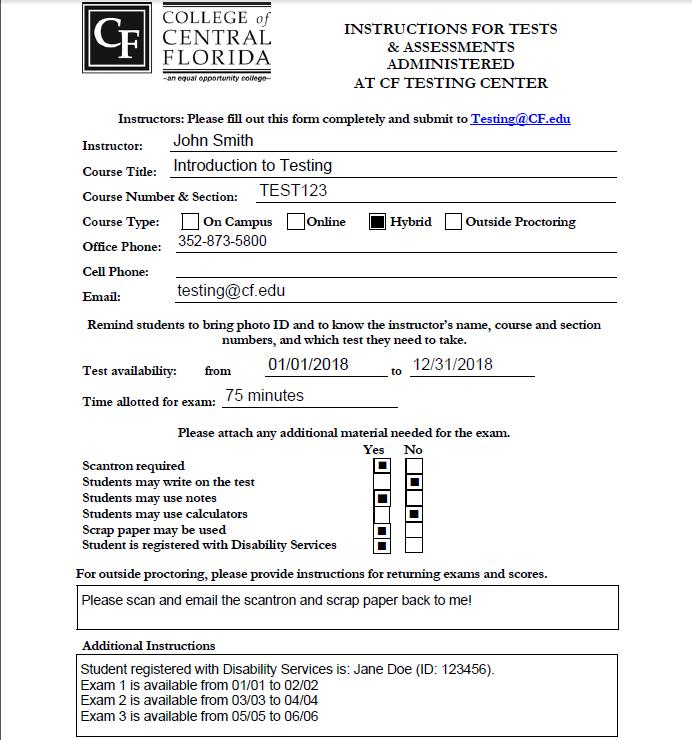 Instructor Testing Form Sample