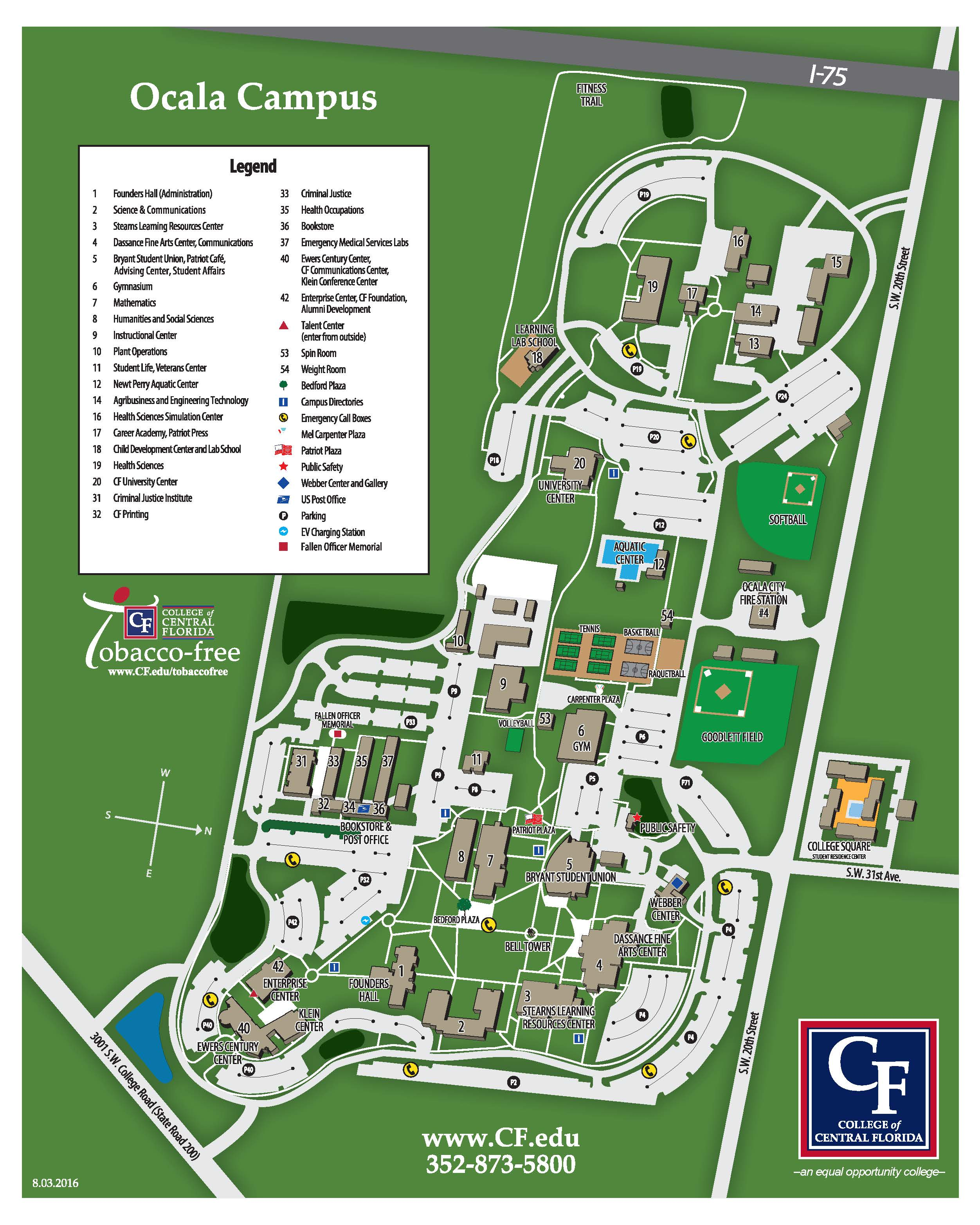 Florida Central Map.College Of Central Florida Ocala Campus Map